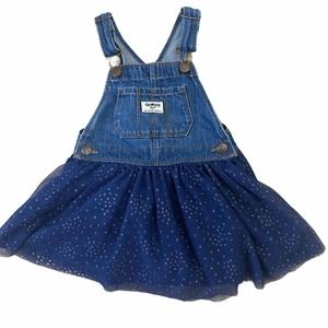 Oshkosh Jean Overalls Dress Blue Tutu Skirt sz 3t